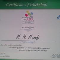 گواهینامه ی هجدمین کنفرانس بین المللی پارک های علم و فناوری  آسیا